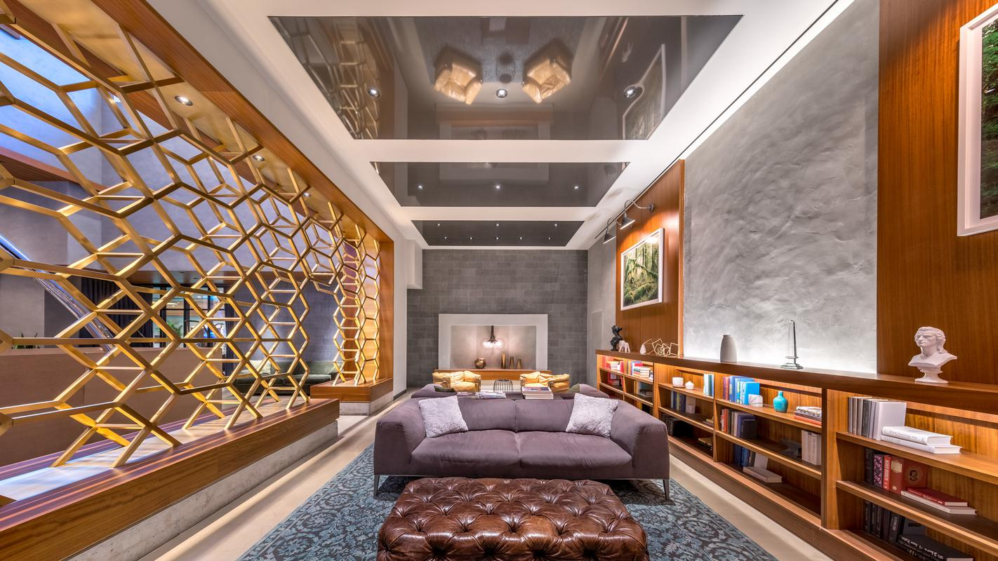 Library in lounge area
